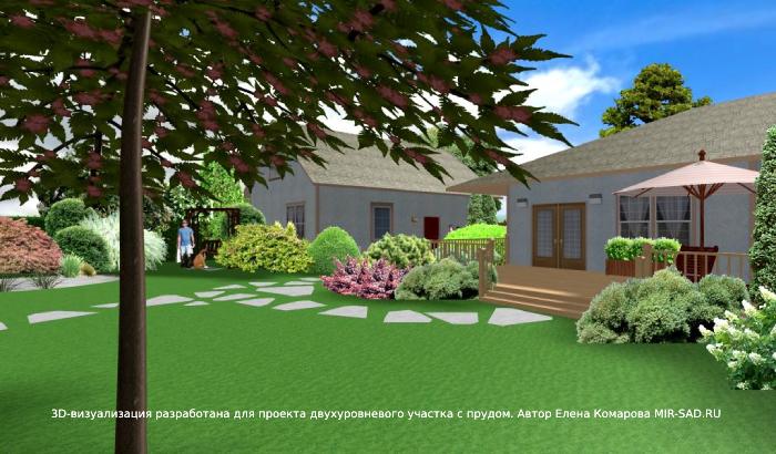 ландшафтный дизайн участка с домом на Урале